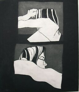 Chis Wild monochrome etching. Reclining figure, August 1974