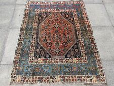 Antique Traditional Hand Made Persian Oreintal Wool Pink Blue Rug 152x120cm