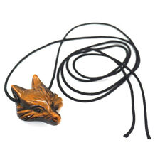 Fox Head Pendant Natural Gemstone Tigers Eye Healing Crystal Carved Necklace