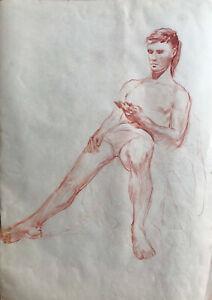 Original sanguine Drawing, Male Nude, Man, Model, Male Portrait