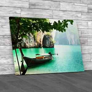 Quiet Lake with Boat Canvas Print Large Picture Wall Art