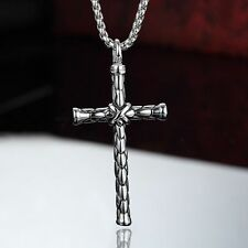"Mens Womens Stainless Steel Cross Pendant 24"" Silver Box Link Chain Necklace N40"
