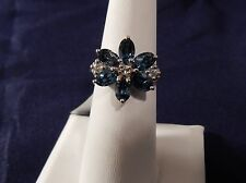Size 6 Beautiful  3.51cts  London Blue & White Topaz Sterling Silver Ring