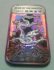 2012 Year Of The Dragon  1oz Silver Bar With Beautiful Toning, TONED