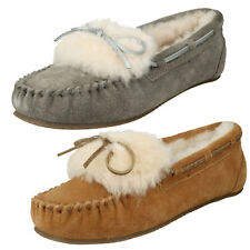 LADIES CLARKS WARM GLAMOUR SUEDE FUR SLIP ON WOMENS MOCCASIN SLIPPERS SHOES SIZE