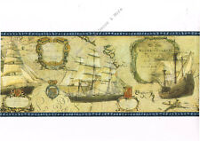 Old World Sailboat Ship Nautical Map Coat of Arms Crackle Blue Wall paper Border