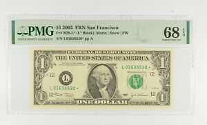 STAR NOTE - PMG Graded 68 EPQ $1 2003 FR1929-L* FRN - Error Replacement *796