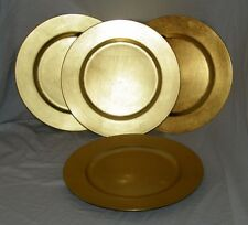 4 Gold Plastic Charger Plate Chop Plates 18079