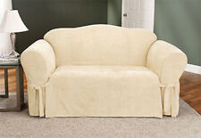 Sure Fit Soft Suede One Piece Sofa Slipcover in Cream Box Cushion Style