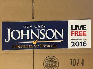 Gary Johnson for President BUMPER STICKER 2016 Libertarian Live Free People 2020