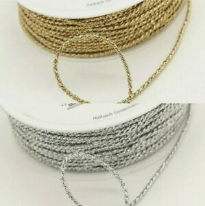 Twisted Metallic Cord Braid Rope 2mm Jewelry Embellishment Gold & Silver