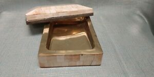 Brass Lined Moroccan Style Capiz Shell Patterned Keepsake Box/ Home Decor