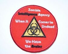 NEW Zombie Intelligence Agency Brains Funny Iron-on Embroidered Clothing Patch