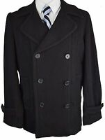 #Z366 NEW BLOOMINGDALE'S Solid Black Winter Double Breasted Coat 44R