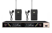 UHF Pro Dual Wireless Cordless Collar Lapel Microphone mic System Speech Schools
