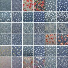 Printed Denim 100% Cotton Fabric Dressmaking Floral & Animals 30+ Designs