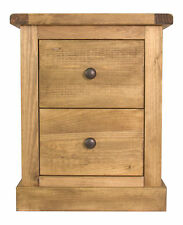 Pine 2 Drawer Bedside Table/Chest of Drawers Wax Finish Square Skirt
