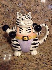 Vintage Otagiri Mary Ann Baker Design Weightlifting Cat Teapot