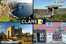 SOUVENIR FRIDGE MAGNET of COUNTY CLARE IRELAND MOHER BURREN BUNRATTY
