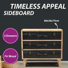 vidaXL Solid Fir Wood Drawer Cabinet Storage Sideboard Living Room Organiser