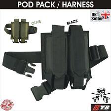 2x Paintball Pod Pack 2 Harness Belt Pod Ejectors Holder Battle Packs Holster Uk