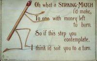 Fantasy Match Stick Man & Poem CFL Clavally c1910 Postcard
