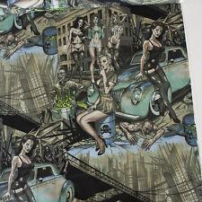 Alexander Henry Fabric Zombie Apocalypse Turquoise PER METRE Pin Ups Halloween U