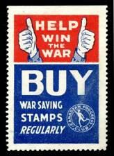 "Canada - Patriotic Poster Stamp - WWII - ""Buy War Savings Stamps Regularly"""