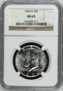 :1964-D S50C Kennedy Half Dollar NGC MS-65 Blast-White Low-Pop R2 Highest-Grades