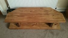 Hand Made Solid Wood Rustic Chunky Corner TV Unit In Oak Effect Wax