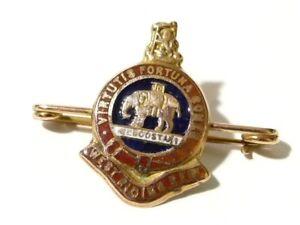 9ct gold & enamel WEST RIDING REGIMENT sweetheart badge DUKE WELLINGTONS  # SH2