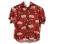 JAMS WORLD Men's Large S/S 100% Rayon Koi Fish Jellyfish Red Hawaiian Shirt
