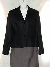 Ralph Lauren Black Linen Jacket 10 Womens Work Business Office Lined Button Down