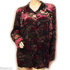 LAURA SCOTT Black Red Floral Print Long Sleeve Button Down Shirt Sheer Top 16 18
