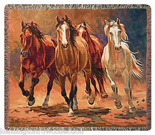 "THROWS - ""WILD STALLIONS"" TAPESTRY THROW - HORSE THROW BLANKET - EQUESTRIAN"