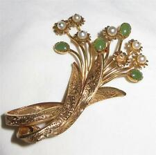 c1950 18k Gold Imperial Jade and Pearl Flower Bouquet Ribbon Brooch Pin 17 g