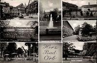 Bad Orb Hessen AK 1957 gelaufen Bahnhof Kurhaus Hotel weißes Roß Salinen u.a