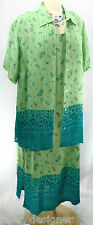 AVENUE NEW Green Blue FLORAL CHIFFON FLOWING MAXI DRESS 2pc blouse cover SIZE 16