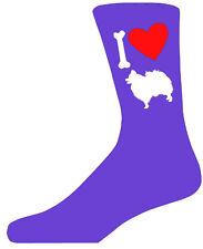 Purple Ladies Novelty Pomeranian Socks - I Love My Dog Socks