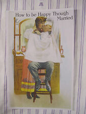 Vintage Barbershop Humorous Sign FEMALE BARBER KISSING CUSTOMER DURING A SHAVE