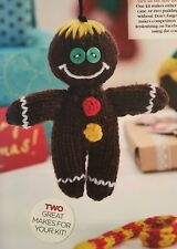 KNITTING PATTERN 3 Christmas Tree Decorations Gingerbread Man Pudding Candy Cane