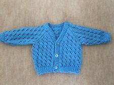 Blue Hand Knitted Baby Cardigan - Size 0-3 months