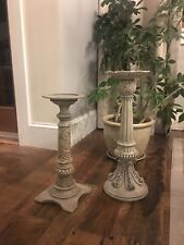Two Large Party Lite Floor Candle Stands shabby Chic, Rustic, Farmhouse Style