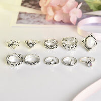 10x Silver Retro Women Stack Plain Above Knuckle Ring Midi Finger Rings Boho Set
