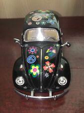 1967 Volkswagen Classical Beetle Diecast Model in Black with Hippie Decals 1:24