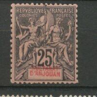 Colonies Françaises ANJOUAN N°8 25c noir s.rose N* variété texte déplacé N2836