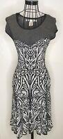 Stunning MAX STUDIO MAX MARA Black White Patterned A Line Dress Small 8 10