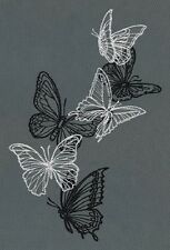 Flight & Dark Butterflies  NEW EMBROIDERED SET 2 BATHROOM HAND TOWEL BY LAURA