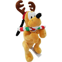 Disney Store Pluto Holiday Cheer Xmas Small Plush Soft Cuddly Toy Teddy Antlers