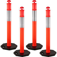 4 Pack Traffic Delineator Cones/Posts 44'' Parking Posts with 11lb Rubber Base